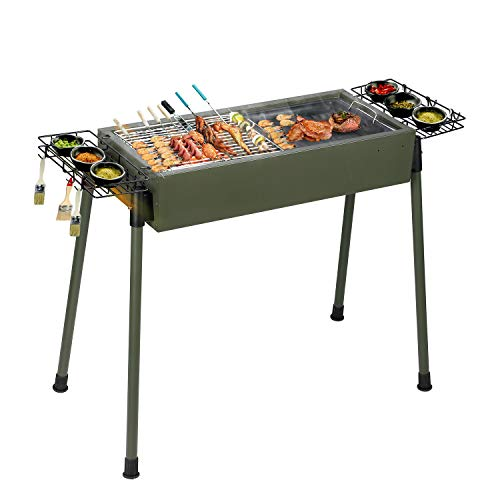 41A3ePnp4GL. SS500  - Uten Barbecue, Portable Stainless Steel Set Smoker Cooking Camping Picnic Party Outdoor Garden Charcoal BBQ Grill Green, Army