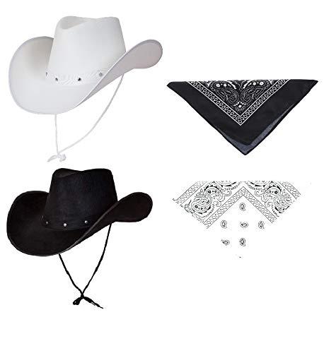 Generic Texanischer Cowboyhut für Erwachsene, Weiß/Schwarz, 2 Stück mit schwarz-weißen Bandanas, Kostüm, Party-Accessoire, Country Western Rancher