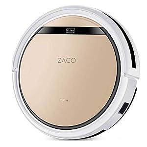 ZACO V5sPro Saugroboter mit Wischfunktion, automatischer Staubsauger Roboter, 2in1 nass Wischen bis zu 180qm oder Staubsaugen, für Hartböden, Fallschutz, beutellos, mit Ladestation, 22W, 300ml, Gold