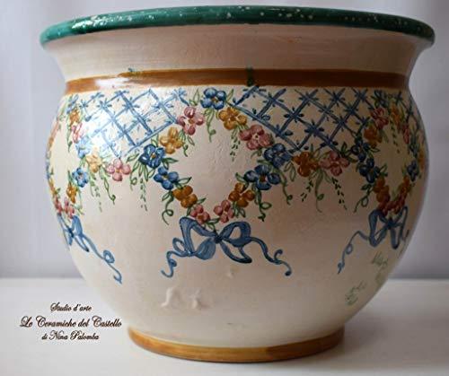 Cachepot Linea Classica Fiori Misti Grillage diametro 29,5 x 23 Handmade Le Ceramiche del Castello Made in Italy