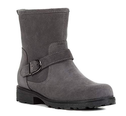 Geox J84A5B Olivia Stivali Modischer Mädchen Leder Stiefel, Biker Boot, Reißverschluss, Warm gefüttert, Atmungsaktiv Grau (DK Grey), EU 28
