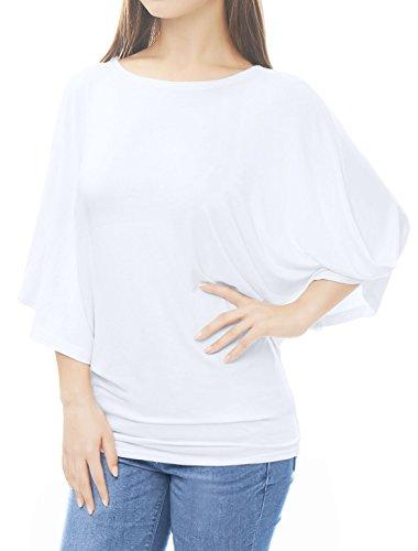 Allegra K Femme Grand col Chauve-souris Manche Énorme Tunique Chemise Blanc