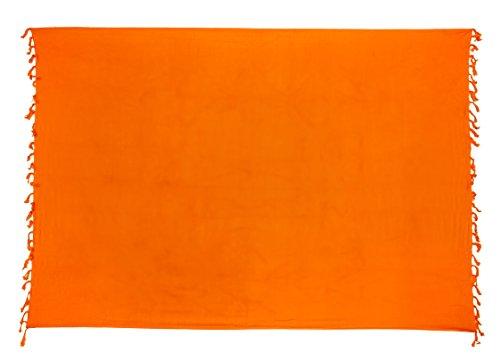 Ciffre Sarong Pareo Wickelrock Strandtuch Lunghi Dhoti Tuch Schlicht Uni Orange + Schnalle