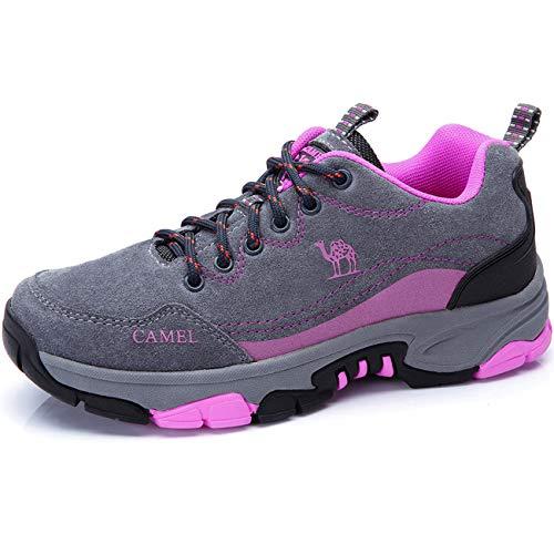 Zapatos para Caminar para Mujer Zapatos de Cuero Antideslizantes anticolisión Resistente al Agua Calzado...