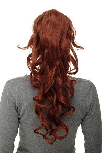 WIG ME UP ® - Postiche natte queue de cheval boucles volumineuses très longues 60 cm mini-pince-papillon + peigne + élastique rouge cuivré WK08-350