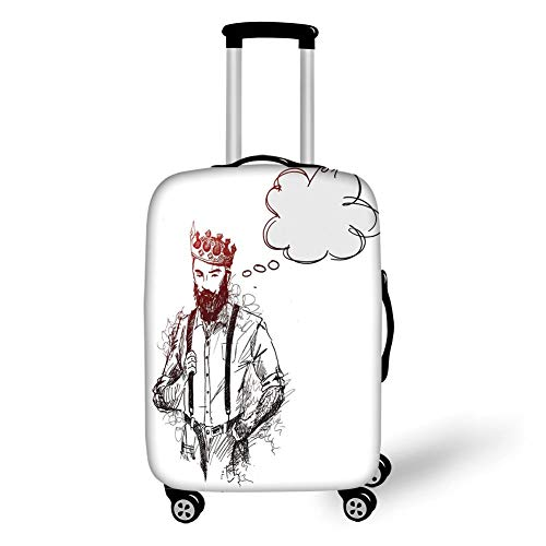 Travel Luggage Cover Suitcase Protector,Indie,Cool Hipster King Character with Crown and Thinking Bubble Sketch Artwork Decorative,Light Grey Black Red,for Travel XL - Cherry Flower Stand