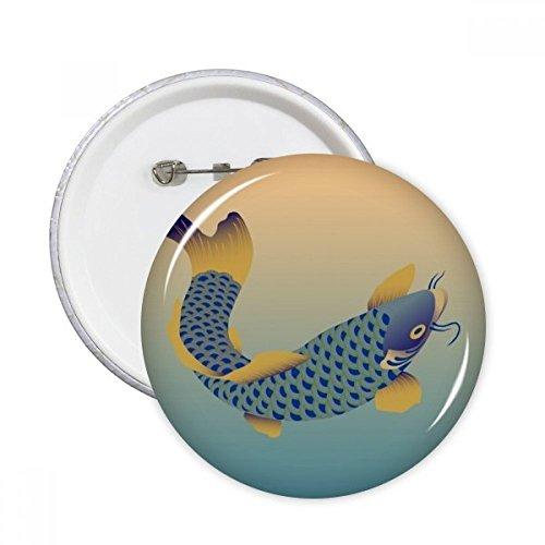 DIYthinker Malerei Kultur blaue Fische Runde Stifte Abzeichen-Knopf Kleidung Dekoration 5pcs Geschenk Mehrfarbig XXL -