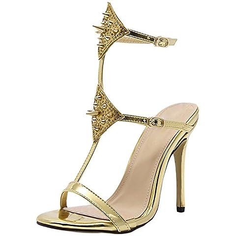Oasap Women's Peep Toe Stiletto Heels Slingback Rivet Sandals, Golden EURO37/US6/UK4