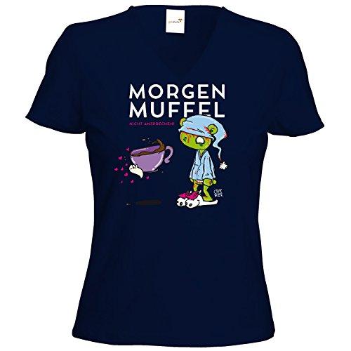 getshirts - Crapwaer - T-Shirt Damen V-Neck - Morgenmuffel Dunkelblau