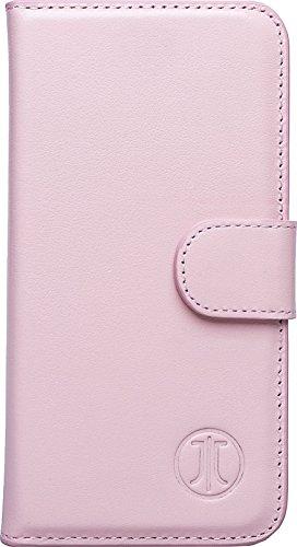 JT Berlin 10100 LederBook Magic Schutzhülle für Apple iPhone 7 Plus / 8 Plus (Echtleder, Handarbeit, Standfunktion, Kartenfächer, Magnetverschluss) cognac WalletCase (3in1) - rose