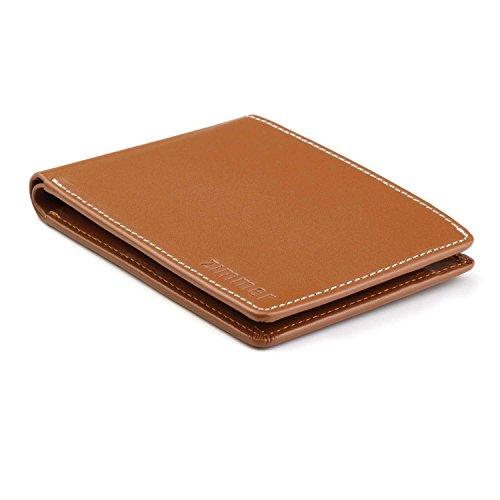 Portemonnaie JASPER der Marke Zimmer / flacher, kleiner und leichter Geldbeutel / ultraflaches Münzfach / braunes Leder / Geldbörse (Leder Braune Geldbörse Aus)