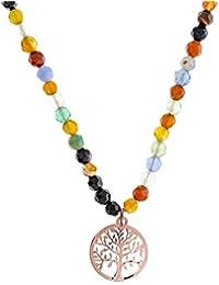 Córdoba Jewels | Gargantilla de plata de Ley 925 bañado en oro Rosa. Diseño Árbol de la Vida oro Rosa Colors de 15mm. Largo 40Cm con cadena ajustable.