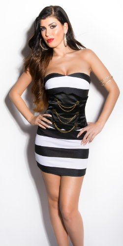 KouCla Bandeau Kleid im Marine-Look - 7 Farben (Gr. 34,36,38,40) Abendkleid Minikleid (IN50083) Schwarz/Weiß