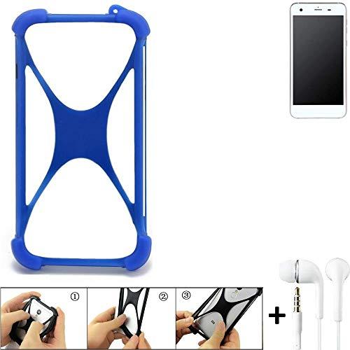 K-S-Trade Handyhülle Vestel V3 5570 Bumper Schutzhülle Silikon Schutz Hülle Cover Case Silikoncase Silikonbumper TPU Softcase Smartphone, Blau (1x), Headphones