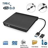 iAmotus Masterizzatore Dvd CD Esterno unità Dvd Esterna USB 3.0 Tipo-C Dual Port, External Dvd Drive Portatile unità Ottiche USB CD/Dvd +/-RW Lettore di Schede Slim Disc per Win7/8/10/XP,Mac OS,Linux