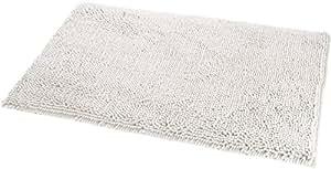 AmazonBasics - Badteppich, Hochflor, Rutschfest, Mikrofaser, 53 x 86 cm, Weiß