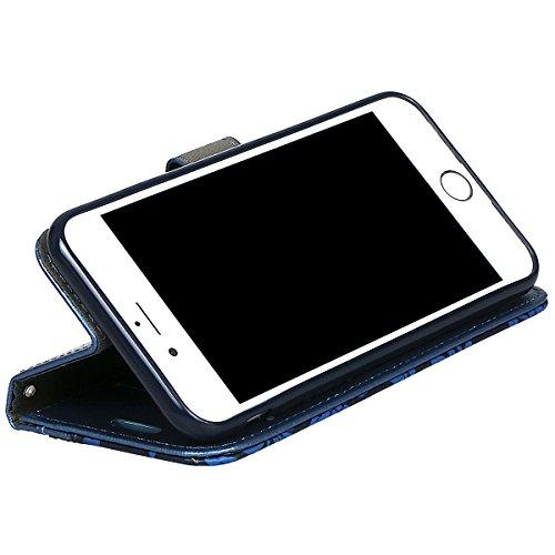 """Coque pour iPhone 7/8, xhorizon Coque de portefeuille de Luxe Bling Strass et de Fleur de Texture en PU Cuir avec des fentes de cartes (stylet de style de plume) pour iPhone 7 / iPhone 8 [4.7""""] Bleu"""