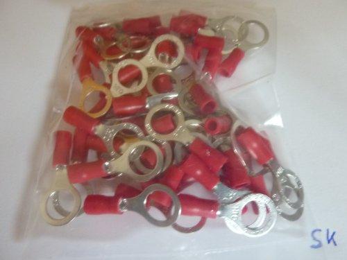 profitec 50 Stück Kabelschuh Ring M 8 rot für Kabel 0,5 mm² - 1,5 mm²