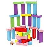yiqi Tavola impilabile in Legno, Coloratissimi Blocchi Torre in Legno Gioco per Bambini e Adulti, Divertenti Giocattoli educativi 48 Pezzi
