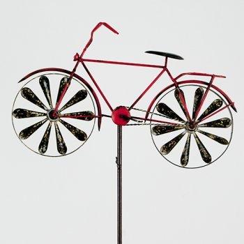 CIM Metall Windrad - Bicycle Red - Wetterfest, mit Antik-Effekt - Windräder: Ø18cm, Motiv: 51x32cm, Gesamthöhe: 160cm - inkl. Standstab - 3