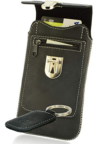 OrLine Handytasche geeignet für Asus Padphone 2 mit Silikon Case. Hülle mit Verschluß und EC-Kartenfach aus Echtleder. Schwarz Etui aus Leder mit die Schlüsselan.