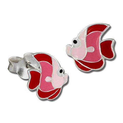 Teenie-Weenie Ohrringe Kinder 925 Silber Ohrstecker Fisch rosa pink SDO8126R