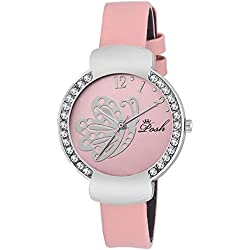 Posh Crystal Studded Round Dial Faux Leather Band Waterproof Women's Wrist Watch