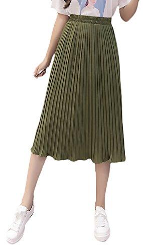 A-linie Elastische Taille Rock (Damen Faltenrock Lang Sommer Mode Elegant Elastische Hohe Taille A-Linie Röcke Jungen Schöne Plisseerock Einfarbig Women (Color : Grün, Size : M))