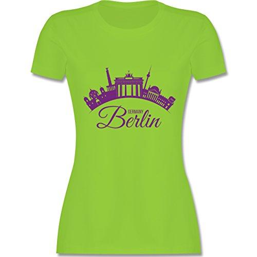 Skyline - Skyline Berlin Deutschland Germany - tailliertes Premium T-Shirt mit Rundhalsausschnitt für Damen Hellgrün