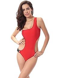 NiSeng Mujer Traje de Baño del Hombro Soltero Bañadores Una Pieza Swimwear