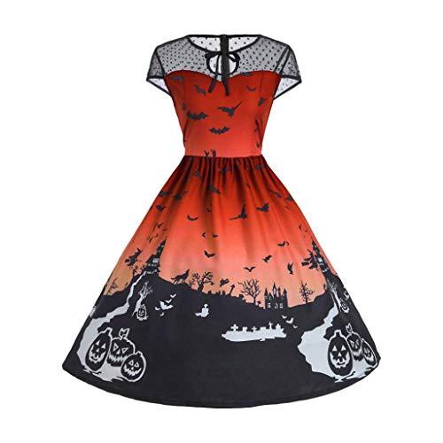 VEMOW Ausverkauf Angebote Frau Kostüm Mode Halloween A-Linie Spitze Kurzarm Party Casual Täglichen Vintage Kleid Abend Party Kleid(X1-Orange, EU-36/CN-M)