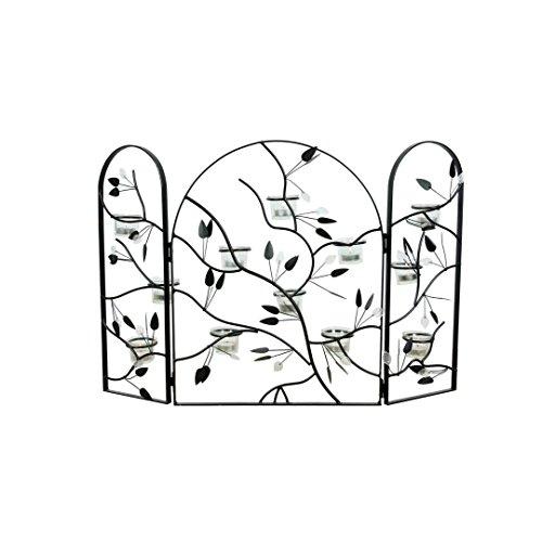 decorative-black-leaf-metal-tealight-tri-panel-fireplace-fire-screen-76cm-by-straits