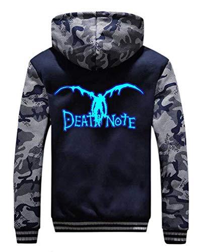 Cosstars Anime Death Note Hoodie Kapuzenpullover Herren Cosplay Kostüm Plus Samt Camo Leuchtend Sweatjacke Mantel 1 M (Anime Cosplay Kostüm Plus Größe)