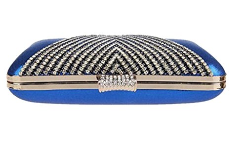 Damen Perlen Hochzeit Staubbeutel Party Geldbörse Ball Kupplung, Pink - rose - Größe: blau