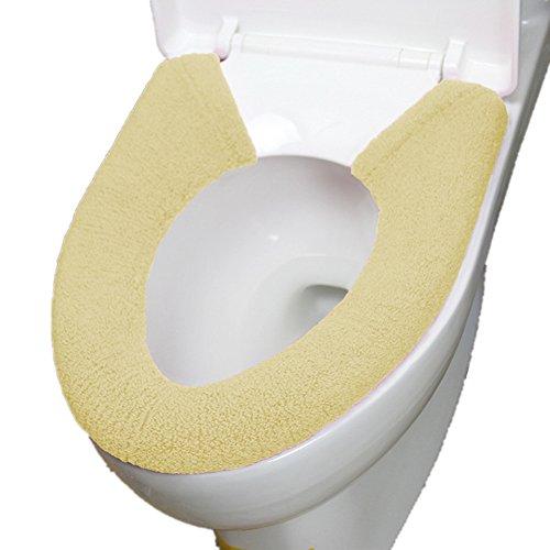 Vimeet Wärmer Plüsch Waschbar WC-Sitz-Pad Badezimmer Bad WC-Sitzbezüge Toiletten Sitzbezug Closestool Seat Pad Toilet Seat Cover WC-Sitz Kissen Toilette Sitz Abdeckung für Universal Toilettensitz Beige