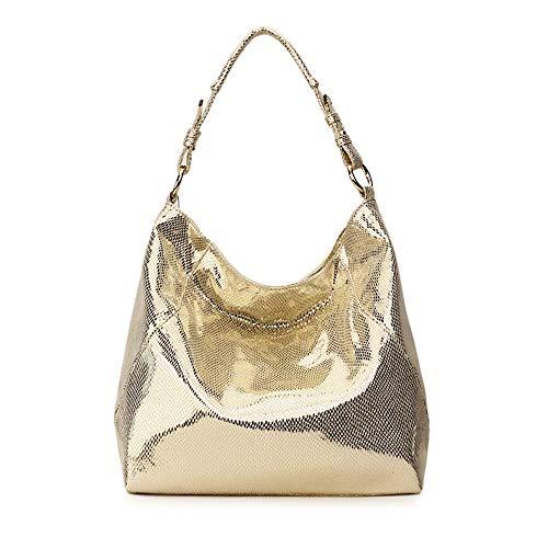 BAG Frauen Tasche Leder Handtasche Große Hobo Umhängetasche Für Frauen Umhängetasche Damen Tote Handtasche,Gold -