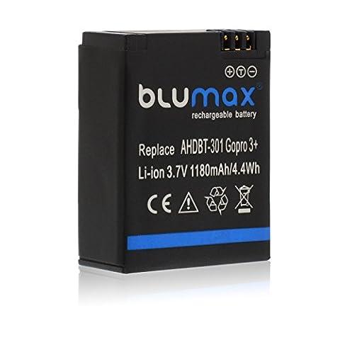 Blumax Akku 1180mAh - für GoPro Hero 3 Plus 3+ / 3 Black, Silver, White - AHDBT-201, AHDBT-301, AHDBT-302, AHBBP-301, ACARC-001,