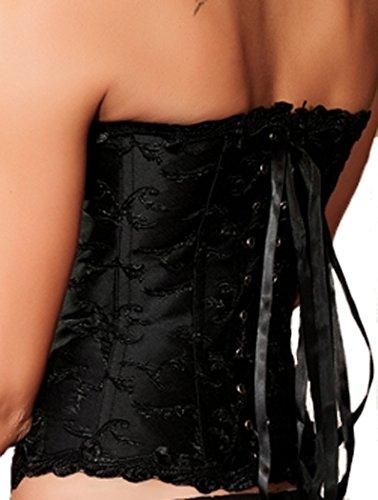 mywy - bustino elegante corpino Top corsetto corpetto tessuto jacquard donna Nero