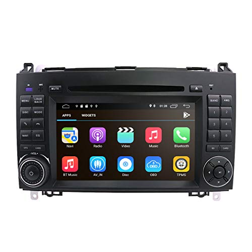 hizpo Android 8.1 Car Audio Stereo for mercedes BENZ A B Class 1024 * 600 Touch DVD Player Double DIN Head Unit Support GPS Sat nav, DAB +, BT, RDS radio, Mirror Link, swc, 4 G WIFI, Cam-in, obd2, DVR Dvr Cd
