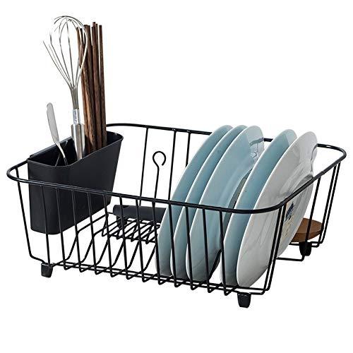 WSN Geschirrabtropfständer,Single-Layer Dish Dryer Vollgitter Küche Ablagekorb Schwarz
