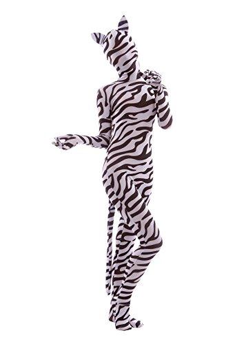 Print Zentai Bodysuit with Ears and Tail (Medium, Zebra Cos) ()
