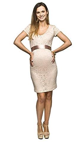 Elegantes und bequemes Umstandskleid, Brautkleid, Hochzeitskleid für Schwangere Modell: Lace, beige, M