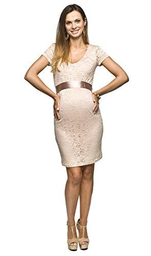 *Elegantes und bequemes Umstandskleid, Brautkleid, Hochzeitskleid für Schwangere Modell: Lace, beige, L*