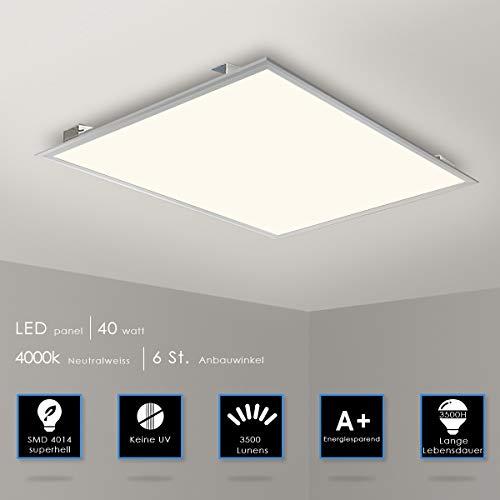 LED Panel Deckenleuchte 62x62cm Neutralweiss 4000K Ultraslim 40W inkl. Trafo und Befestigungsmaterial für Systemdecken wie Odenwalddecke Rasterleuchten Einlegeleuchte Büroleuchten