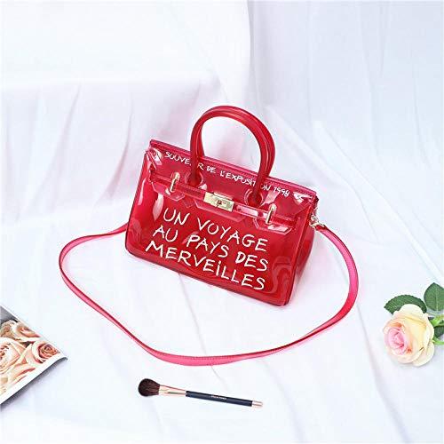 Fyyzg Sommer PVC beiläufige transparente Geleebeutel Schulter Diagonale Mobile Handtasche Trend Platin Gold Strandtasche rot