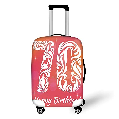 Travel Luggage Cover Suitcase Protector,70th Birthday Decorations,Floral Detailed Happy Birthday on Abstract Round Print,Orange Pink and White,for TravelXL 29.9x39.7Inch -
