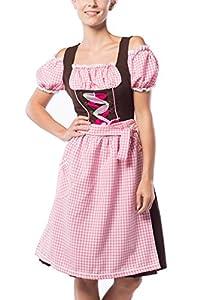 Partychimp Mujer Tirolesa Midi Anne de Ruth Rosa/Marrón con una bluße y Delantal, tamaño 36-48 Pink/Braun