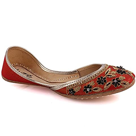 Unze New Women Traditional 'Agate' Handmade Embroidered Leather Flat Indian Khussa Pump Slippers Shoes - Red - 6 UK