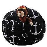 LY-LD Kindergestecke Bean Tasche Stuhl Plush High Kapazität Leinwand-Material für die Aufbewahrung von Plüschspielzeug, Kleidung, Handtücher,A,18inch