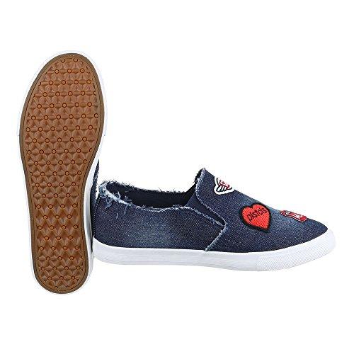 De Modernos Baixo Baixos Sapatos Chinelo Azul top Sapatos Escuro Zipper Femininos Ital Design IxwvEqZ0